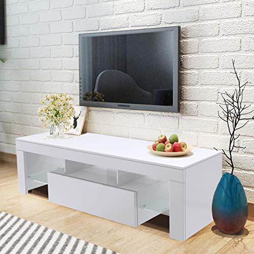 WISFORBEST Meuble TV LED Banc TV Bas pour Écrans Jusqu'à 60 Pouces Armoire TV avec 1 Compartiment Fermé et 2 Tablettes en Verre Idéal pour Salon/Chambre 130 x 35 x 45cm (Blanc)