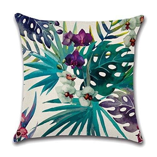 Ropa de cama de lino estilo de la planta tropical Throw Pillow...