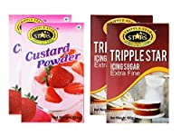TRIPPLESTAR Strawberry Custard Powder- 100 gm, Pack of 2 and Icing Sugar- 100 gm, Pack of 2