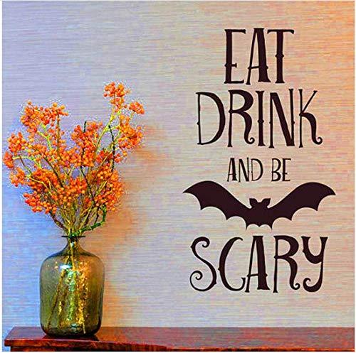 Newberli Essen Trinken Beängstigend Zitate Wandaufkleber Halloween Party Decals Home Raumdekoration Wandaufkleber Abnehmbare Diy Wandaufkleber