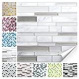 Wandora 1 Set Fliesenaufkleber 27 x 25,4 cm Grau Marmor Silber Dunkelgrau Ziegel Design 37 I 3D Mosaik Fliesenfolie Küche Bad Aufkleber W1536