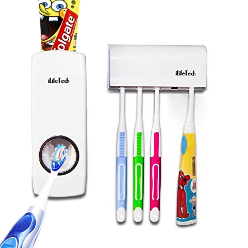 ilifetech-toothpaste-dispenser-toothbrush-holder-set