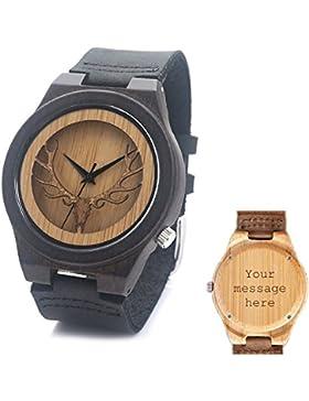 Maßgeschneiderte Unisex Holz Armbanduhr Naturholz Bambus Uhr Retro Quarz Leder Braun Uhren für Frauen Herren