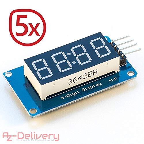 AZDelivery ⭐⭐⭐⭐⭐ 5 x 4 Bit Digital Tube LED Display Modul I2C mit Clock Display für Arduino und Raspberry Pi (5 Stück) mit Gratis eBook!