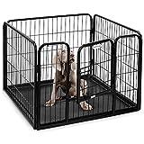 Parc/enclos pour chiot/lapin/animal de compagnie à 4 panneaux en métal robuste et avec bac Milo & Misty
