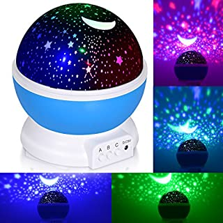 Night Light for Kids, ADORIC Baby Star Projector Night Light with 3 Model Romantic Rotating Cosmos Star Sky Moon Projector(Blue)