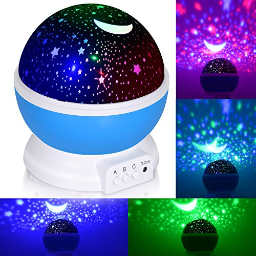£12.46 Hot Night Light for kids, ADORIC Baby Star Projector Night Light with 3 Model Romantic Rotating Cosmos Star Sky Moon Projector As Halloween, Christmas, Party Gift (Blue)
