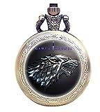 taport Juego de Tronos bronce antiguo grabado cuarzo reloj de bolsillo + libre batería de repuesto + libre bolsa de regalo