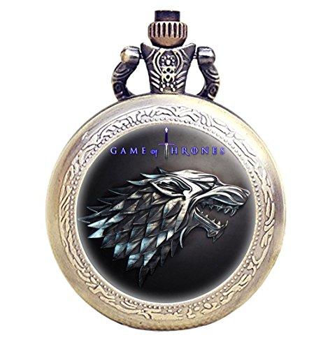 Reloj de bolsillo Taport con diseño de Juego de Tronos y de bronce an