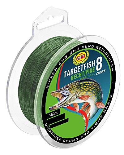 WFT TF8 Hecht Green 150m - Hechtschnur zum Spinnfischen, geflochtene Angelschnur, Schnur zum Spinnangeln auf Hechte, Durchmesser/Tragkraft:0.20mm / 18kg Tragkraft