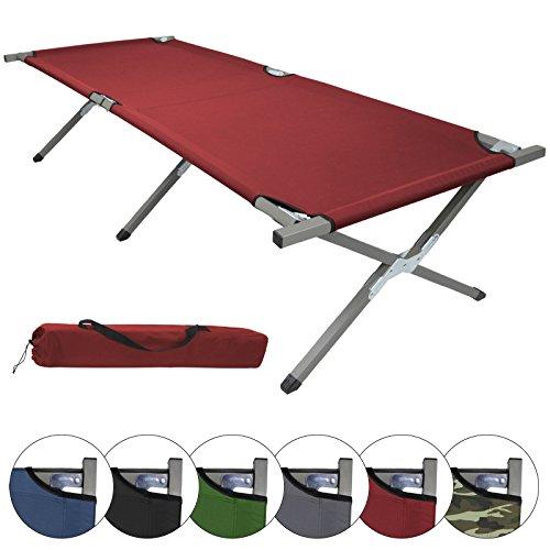 BB Sport Feldbett HOLIDAY XXL 200 x 70 x 52 cm verschiedene Farben und Mengen klappbares Camping Bett belastbar bis 150 kg, Farbe:rot