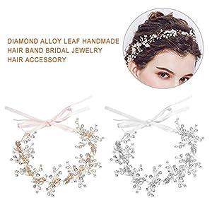 biteatey Haarschmuck Hochzeit Zircon Braut Haarschmuck Blätter Kopfschmuck für Frauen auf Hochzeit Party oder Freizeit (Gold/Silber)