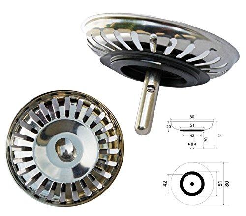 Preisvergleich Produktbild ProKIRA Universal Siebkörbchen 3,5 Zoll (Ø80mm), für Spülen mit Handbedienung / Edelstahl