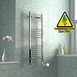 1200 x 400 mm Electric Curved Towel Rail Radiator Chrome Heated Ladder