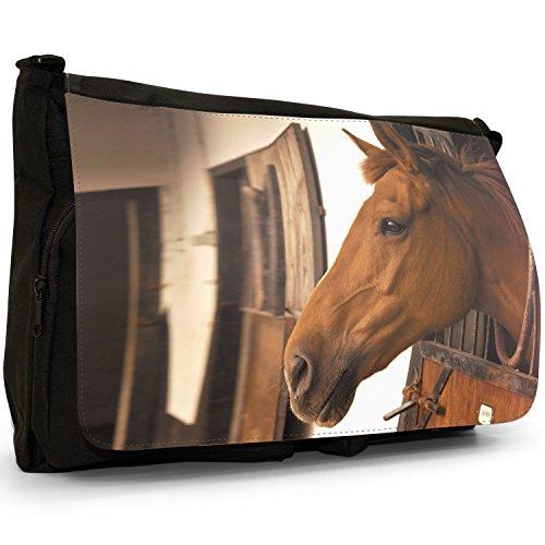 Elegante, motivo: cavalli, misura grande, colore: nero, Borsa Messenger-Borsa a tracolla in tela, borsa per Laptop, scuola Nero (Beautiful Brown Horse Stable)