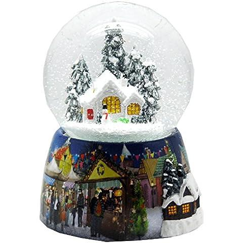 20061 - Bola de nieve invierno navidad con snowmotion, LED y caja de música, 140 mm Altura