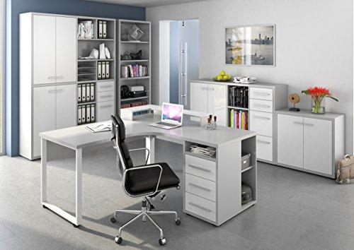 Komplettes Arbeitszimmer MAJA SET+ in Platingrau / Weißglas 5-teiliges Büro Komplettset Set 9