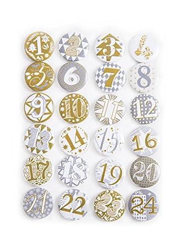 1a-Qualität 1 - 24 Adventskalender Buttons in silber gold Shabby Style; Adventskalender-Zahlen zum selber basteln; 1 bis 24; Sticker aus Alu Metall Blech - mit einer Nadel hinten