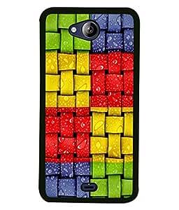 Fuson Designer Back Case Cover for Micromax Canvas Play Q355 (Green Red Yellow Blue Box Checks Squares Design)