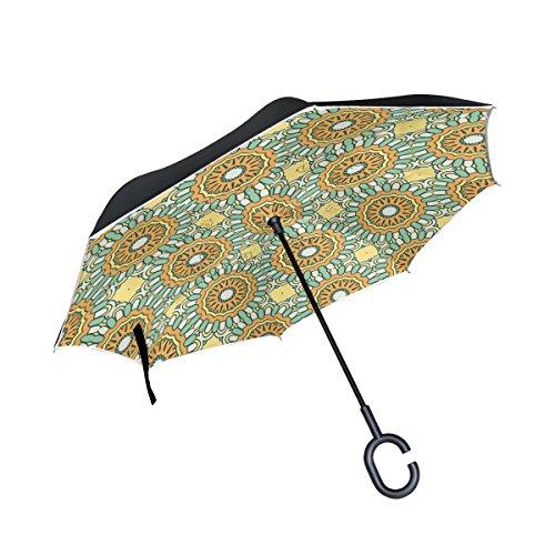 MAILIM Paraguas Reversible para Coche, Diseño de Mandalas con Impresión Floral, Color Amarillo