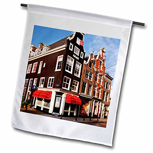 3drose Niederlande, Holland, Amsterdam, niederländische Architektur–Miva Lager–Garten Flagge, 12durch 45,7cm