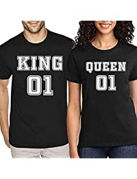 cf048ba13 Sprinklecart Matching Couple T Shirts | King Queen Printed Black Cotton T  Shirt Combo for Couples
