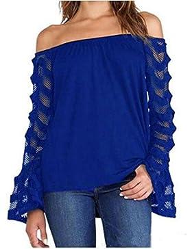 Culater® mujeres Verano suelta la camiseta Tops camiseta de manga larga de la blusa del hombro