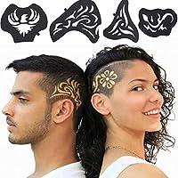 UxradG - Plantilla de tatuaje para el pelo, 25 piezas, 1 juego, multiformas