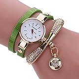 LSAltd Heiß Verkauf!!! Frauen Mädchen Klassische Lederne Rhinestone Uhr analoge Quarz Armbanduhren Großes Geschenk (Grün)