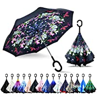 ZOMAKE Double Layer Inverted Umbrella, Windproof Reverse Umbrella with C Shape Handle, Self Standing, Inside Out, Hand Free with Carrying Bag