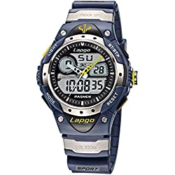 Alienwork Analogue-Digital Watch Multi-function LCD Wristwatch Water Resistant 10ATM Rubber black black PLG-388AD-03