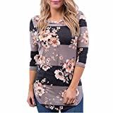 OVERDOSE Mokingtop Damen Floral Splice Printing Rundhals Pullover Bluse Tops T-Shirt (S, F-Coffee)
