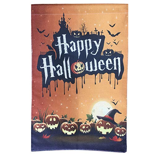 Uniwish Happy Halloween Kürbis Laterne Gartenflagge doppelseitig Home Dekoration, Vintage Yard Schild, saisonale Indoor Outdoor Dekorationen 31,8 x 47 cm