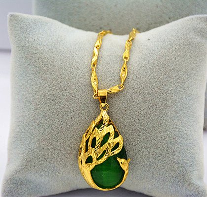 BEEST-To create a gold necklace, gold necklace chain, personality, decorative necklace for men and women, long time no fading,Jade chain cat eye stone