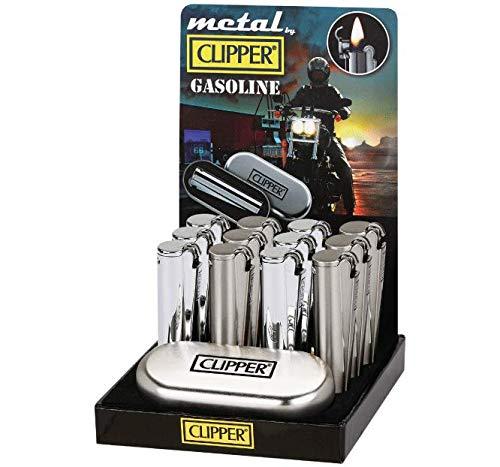 """Clipper Metall Silber Glänzend\""""Gasoline Silver\"""" Benzinfeuerzeug in Geschenkbox"""