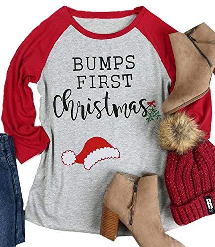 DUTUT Bumps First Christmas Umstands-T-Shirt für Damen, lustig, niedlich, Weihnachtsmannmütze, Party-Tee für Schwangere - Rot - Groß