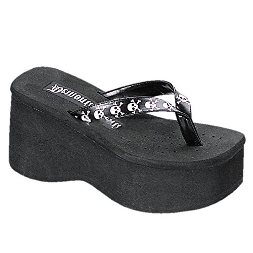 Demonia Funn-17 - Gothic Plateau Flip Flop Schuhe 36-41, Größe:EU-37 / US-7 / UK-4