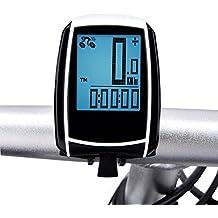Sensor de Movimiento de Bicicleta Inalámbrico, Elinker Computadora con Retroiluminación Grande LCD GPS Bicicleta Impermeable Cuentakilómetros Ciclocomputador Velocímetro para el Seguimiento de la Velocidad y la Distancia de Montar – Despertador Automático (Negro)