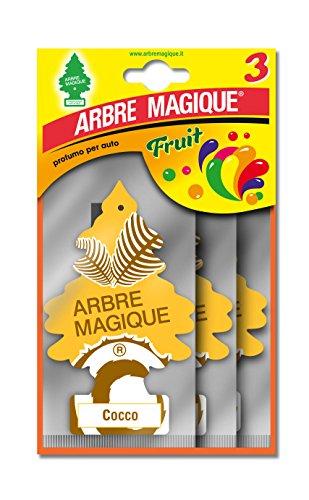 Arbre Magique Tris, Deodorante Auto, Fragranza Cocco, Profumazione Prolungata fino a 7 Settimane, Confezione T