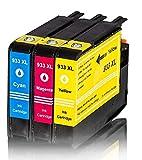 Merotoner® - 3 x Druckerpatrone für HP 933 XL 933XL , CN054AE , CN055AE , CN056AE kompatibel (C,Y,M)