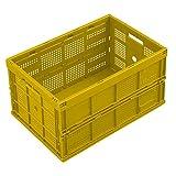 WALTHER Faltbox aus Polypropylen - Inhalt 60 l, ohne Deckel - gelb, Ausführung durchbrochen - Faltbox Klappbox Lagerkasten Stapelkasten aus Kunststoff Transport-Behälter Transportkiste aus Kunststoff Stapelkisten Stapelkisten