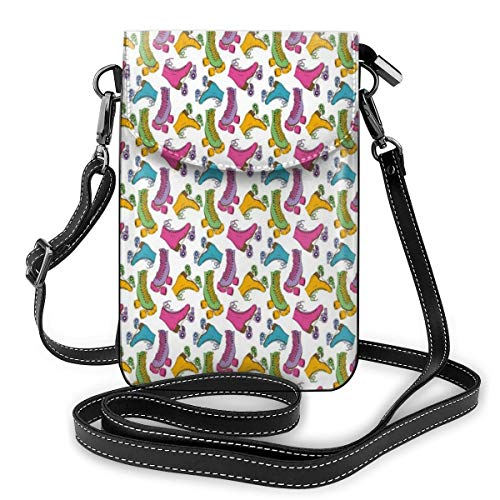 Jiger Women Small Cell Phone Purse Crossbody,Retro Colorful Roller Skates In Vivid Colors Girls Sports Hobby Illustration