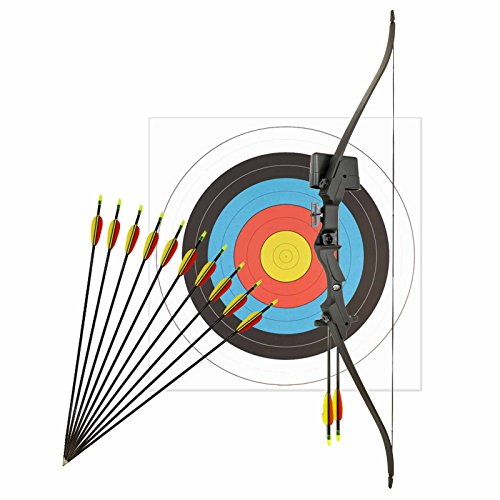 Kinderbogenset Komplettset Man Kung Recurvebogen Hawk® Schwarz 117 cm / 17-21 lbs RH + 12 Pfeile + Zielscheibe 60 cm
