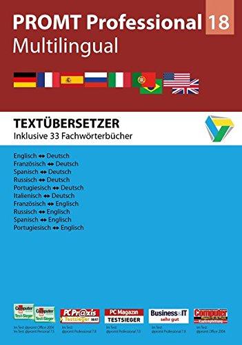 PROMT Professional 18 Multilingual: Preisgekröntes Übersetzungsprogramm Deutsch, Englisch, Französisch, Spanisch, Russisch, Italienisch und ... 7, 8 und 10. (PROMT Übersetzungssoftware)