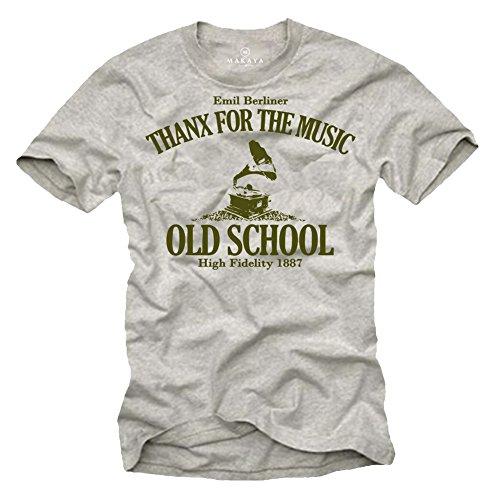 Musik Band T-shirt (Musik Band T-Shirt für Herren Shirt Farbe grau Logo oliv GRAMMOPHON Größe L)