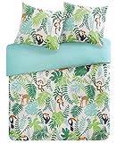 SCM Bettwäsche Grün Blau Dschungel Tiere  Renforcé 100% Baumwolle   3 Teilig Bettbezug & Kissenbezüge   Ganzjahres & 4 Jahreszeiten   Ideal für Schlafzimmer   Tropical Doppelbett, 200x200+80x80cm