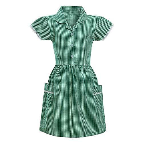 b-commerce Kinder Mädchen Prinzessin Turndown Kragen Spitze getrimmt Plaid Print Kurzarm Schule Kleid Outfits Gingham Button Down Minikleid mit Tasche 3-12 Jahre - Gingham Print Bikini