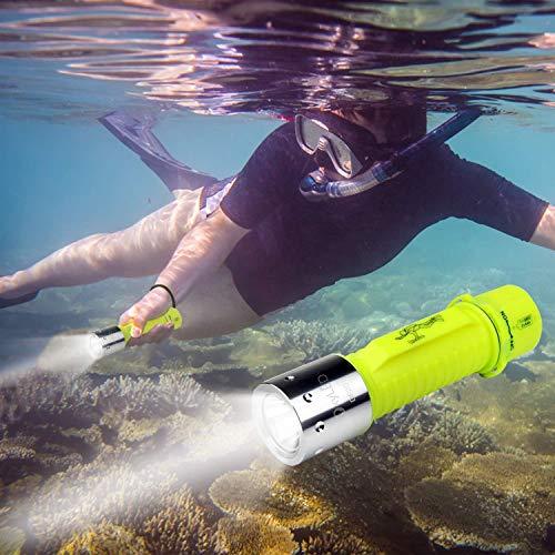 Taschenlampe von OxyLED mit 500Lumen, IPX8-wasserdicht, Unterwasserlampe zum Tauchen, CREE LED-Taschenlampe, wiederaufladbar, mit 18650-Akku mit USB (im Lieferumfang enthalten), DF20 -