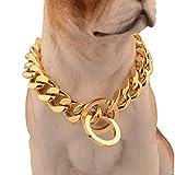 Collares Básicos Cable Diámetro 12 Mm Perro Mascota Acero Titanio Oro Acero Inoxidable Cadena De Mezclilla P Cadena De Pulido Collar 22 Pulgadas (Circunferencia De Cuello Recomendada 18 Pulgadas),