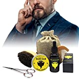 Bulary Kit de soin de barbe 5 pièces Kit de crème de rasage nourrissante Moustache pour homme